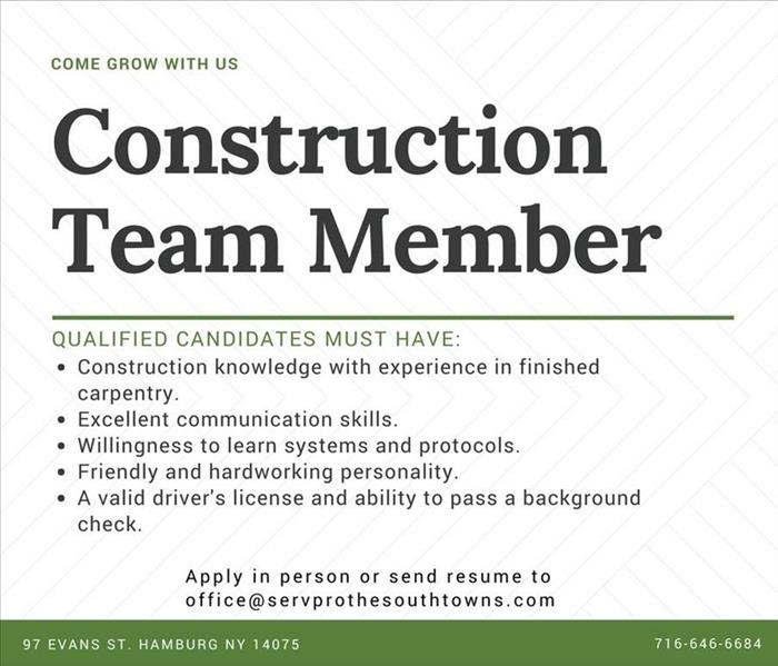 Construction Team Member Description