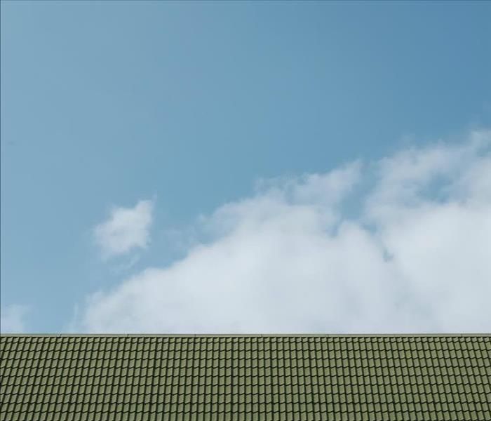 Green roof with two windows in front of a blue sky.